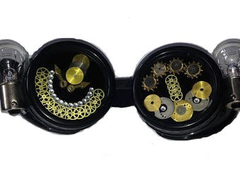 steampunk goggles gears black crazy lights