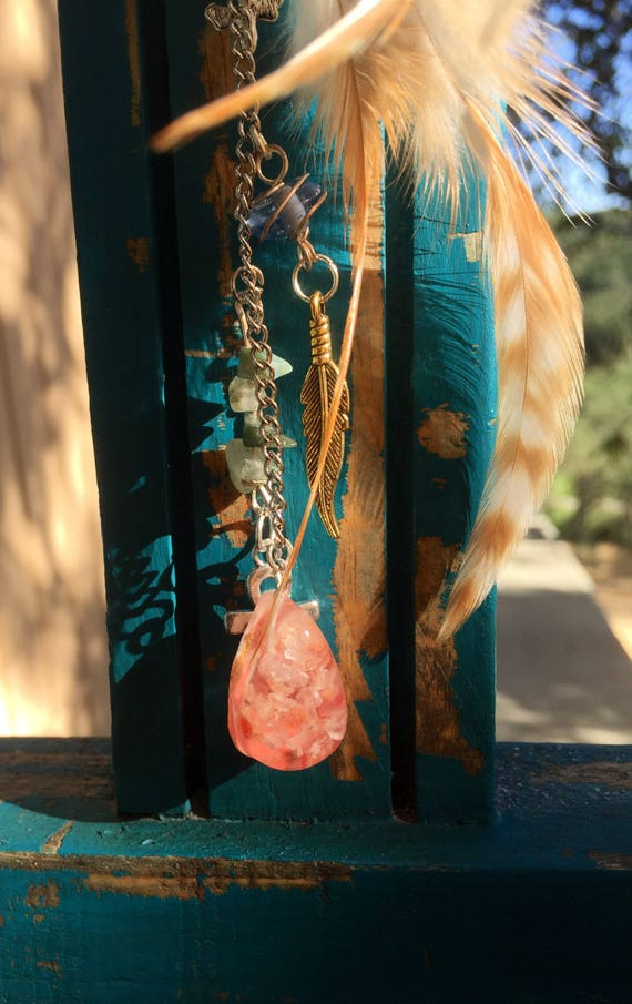 Mermaid Story Orgonite®  Necklace PART 2- Beach Orgonite® Rearview Mirror charm- Bohemian Hippy Dreamcatcher Orgone- Car Protection Orgone
