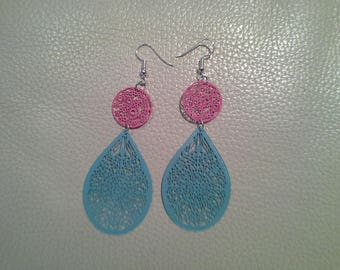 Pink and blue filigree earrings