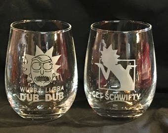 Rick and Morty custom etched stemless wine glasses