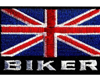 Aufnäher/Bügelbild-Biker UK England Flagge Fahne Great Britain-rot/Blau-7.4 x 4.8 cm-by catch-the-Patch ® patch Aufbügler Applikationen zum Aufbügeln Applikation Patches Flicken