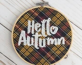 Hello Autumn Embroidery Hoop - Autumn Decor - Fall Wall Art
