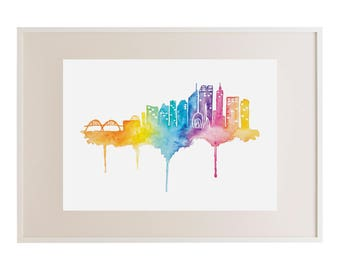 Perth Skyline Watercolour Print // Art Print // Watercolour // Wall Art // Illustration