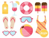 Girls Pool Party Clipart Illustration for Commercial Use | 0039