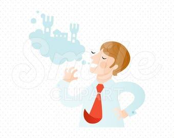 DREAMER MAN Clipart Illustration for Commercial Use | 0057