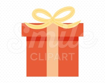 RED GIFT BOX Clipart Illustration for Commercial Use | 0092