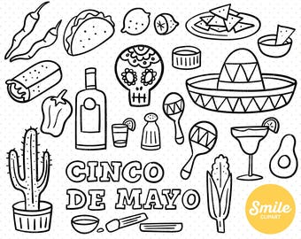 Line Art Cinco De Mayo Clipart Illustration for Commercial Use   0493
