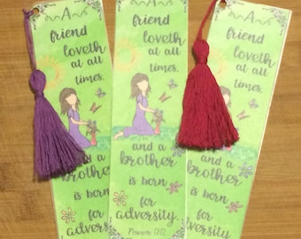 Bible Verse Bookmark - Proverbs 17:17 -  handmade WITH tassel  (stock #7) a friend loveth at all times