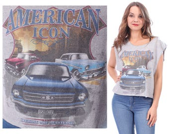 MUSCLE Car Shirt American Icon 90s Cadillac Print Tank Top CROPPED Low Armhole Sleeveless Grey Blue Yellow Cotton T Shirt Cut Off S To M