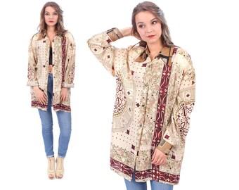 70s Boho Kimono Shirt Boho Blouse Top Hippie Play Cards Print Vintage Bohemian Button Up Long Sleeve Baggy Beige Burgundy Red Longline XL