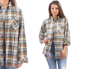 Faded Flannel Shirt 80s Plaid Shirt Beige Grey Blue Oversized Grunge Vintage Button Down Lumberjack Long Sleeve Checkered Extra Large XL