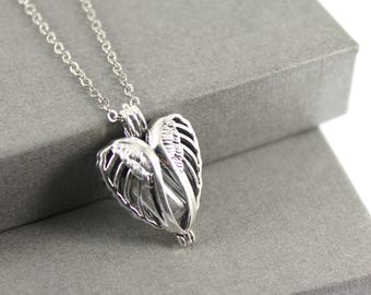 Sterling Silver Angel Wings Memorial Cremation Ash Locket Necklace. Keepsake Memory of Loved, Memorial Jewellery, Urn Necklace