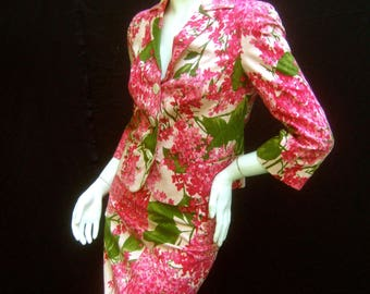 MOSCHINO Italy Vibrant Floral Print Cotton Skirt Suit US Size 4