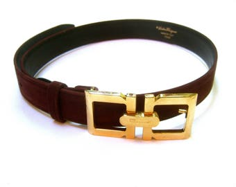 SALVATORE FERRAGAMO Italy Luxurious Brown Suede Belt