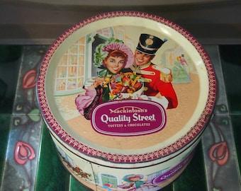 Vintage Kitchen Storage Tin, Mackintosh's Quality Street Tin Box, Round Decorative Tin, Collectibles, Memorabilia, Advertising