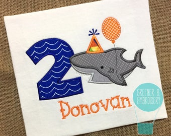 Shark Birthday Shirt / First Birthday Shirt / Shark Applique / 1st Birthday Shirt / Ocean Party / Shark Party / Personalized Birthday Shirt