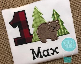 Lumberjack Birthday Shirt / Woodland Birthday / Lumberjack Applique / Forest Birthday Shirt / 1st Birthday Shirt / Personalized Bear Shirt