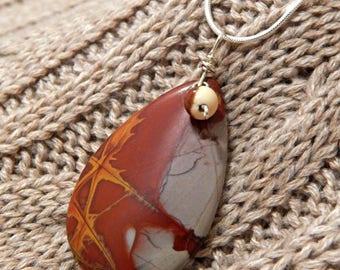 Mookaite  Necklace, Jasper Pendant, Jasper Necklace, SIlver Necklace, Mookaite pendant, handmade necklace, gemstone necklace,