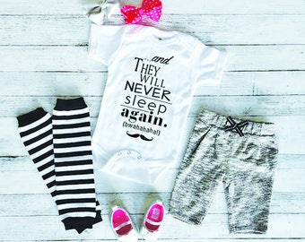 Funny Baby Onesie - Cute Baby Onesie - Baby Shower Gift - New Baby Gift - Baby Onesie With Sayings - Never Sleep Again