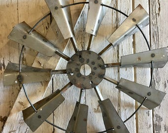 Wall Windmill, Industrial, Recycled Metal Wall Windmill, 24""