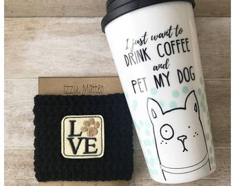 Love Dog Paw Cozy, coffee cozy, reusable cup sleeve, teacher gifts, dog lovers
