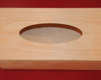 Rectangular tissue box made of wood