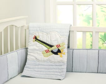 Up, Up, & Away Airplane Plane Baby Quilt Baby Boy | Blue Green Transport Plane Crib Baby Bedding - Free Personalization