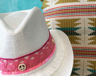 Cowboy hat |Straw hat |Sun hat |Summer hat |Beach hat |Hippie chic hat |Women hats |Handmade hat |Gifts for her |Custom gift | Love it