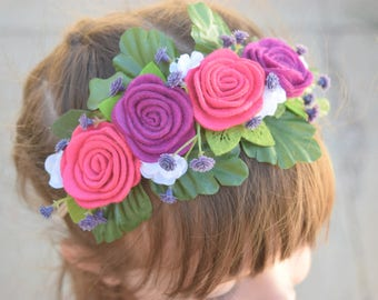 Pink and Purple Felt Flower Floral Crown, Floral Crown Headband, Felt flower headband,