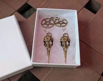 Pentagram and Skull Drop Earrings