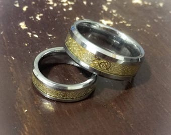Gold Dragon Design Couples His And Hers Tungsten Wedding Ring Bands Size 115 5