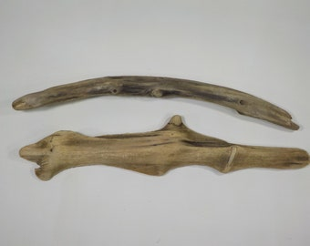 "2 Driftwood Sculptures 16.5""/42 cm , Unusual Driftwood Pieces ,Natural Beach Decor, Craft Supply, Driftwood for Arts # 33A"