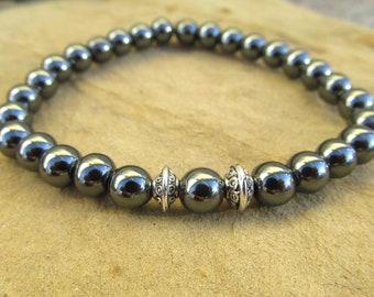 Hematite bracelet gemstone bracelet protection bracelet healing bracelet therapy bracelet yoga bracelet boho grounding meditation gift.