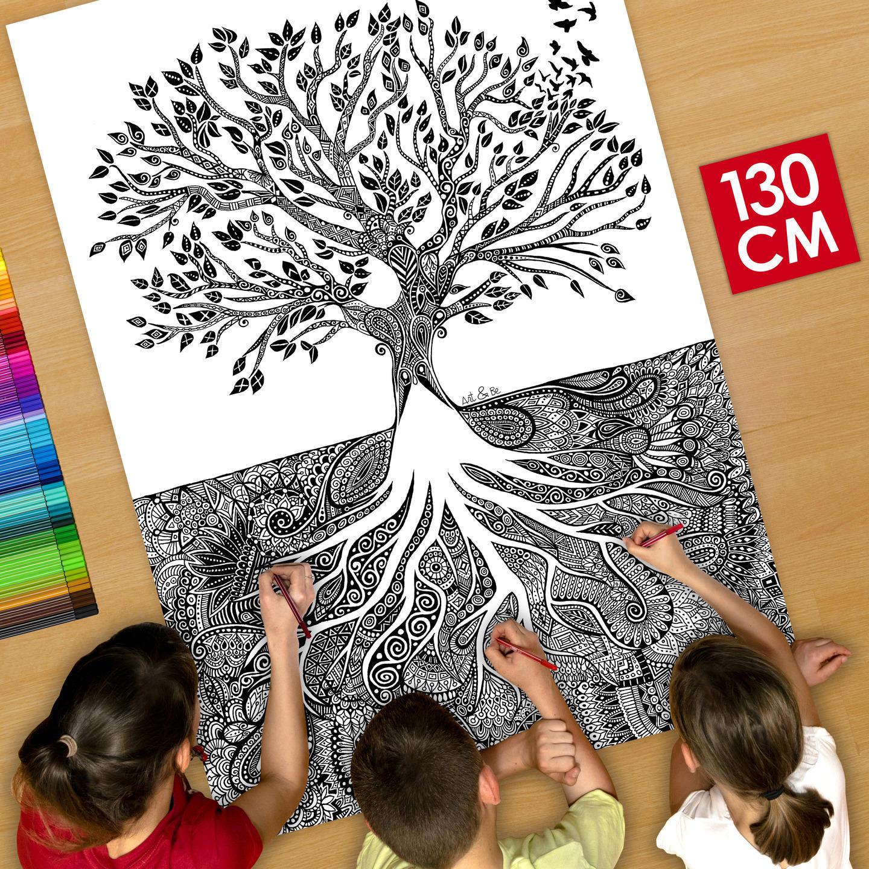 affiche poster d co g ant colorier 130cm arbre et. Black Bedroom Furniture Sets. Home Design Ideas
