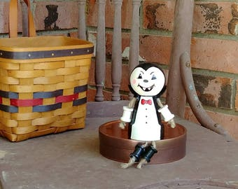 Cute Count Dracula Vampire Clay Pot People Creature Halloween Decoration Shelf Sitter or Hanging Ornament