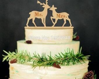 Rustic Wedding Cake Topper Wooden Mr. Mrs. Couple Deer Wedding Cake Toppers Wedding Decoration Mariage Vintage Bodas