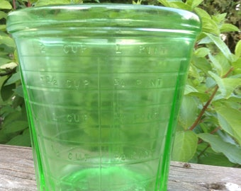 Vintage green glass measuring cup