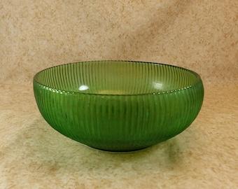 Vintage E.O. Brody Green Glass Ribbed Bowl