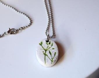 Necklace with Pearl ceramic raku green craft foam