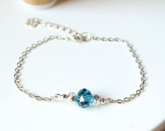 Blue and shiny glass beads and silver bracelet