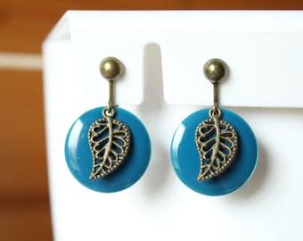Dark blue sequins and leaf clip earrings bronze