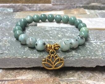 Lotus jade Jasper gold mala/bracelet