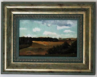 Oil landscape painting, field oil painting, original painting, nature oil painting, fields landscape