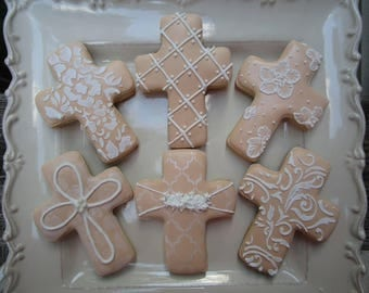 Cross cookies, reconciliation, baptism, wedding, first communion cookies 12ct.