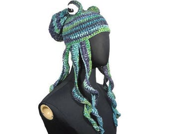 Choose Your Color Crochet Octopus Hat: Octopus Tentacle Stuffed Octopus Fantasy Creatures Sea Creature Under the Sea Hat Crochet Animal Hat