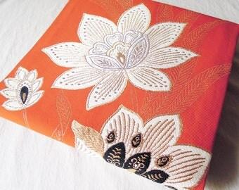 Vintage Japanese Kimono Obi / Nagoya Obi / Flower embroidery