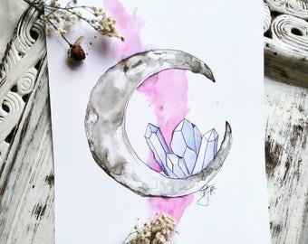 Crystal moon print