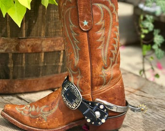 Navy Alligator Embellished Leather western spur straps
