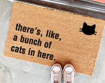 """THE ORIGINAL bunch of cats in here™ doormat - 18""""x30"""" - cat lover - funny doormats - cat lady - housewarming"""