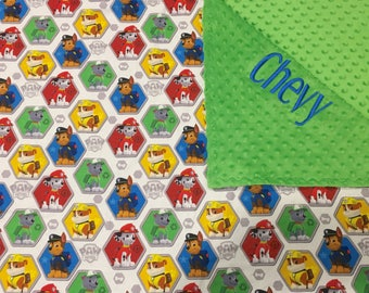 Paw Patrol minky blanket, personalized Paw Patrol minky blanket, Baby Gift, Nursery Blanket, Toddler Bedding, Nursery Blanket, Crib Bedding